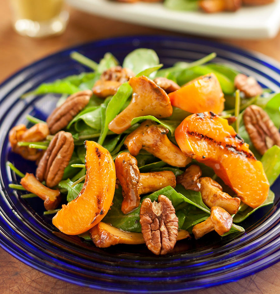 Maple-glazed Chanterelle & Arugula Salad with Grilled Apricots and Pecans