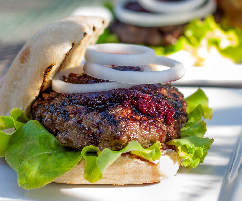 Cherry-Bison Burgers with Cherry Catsup