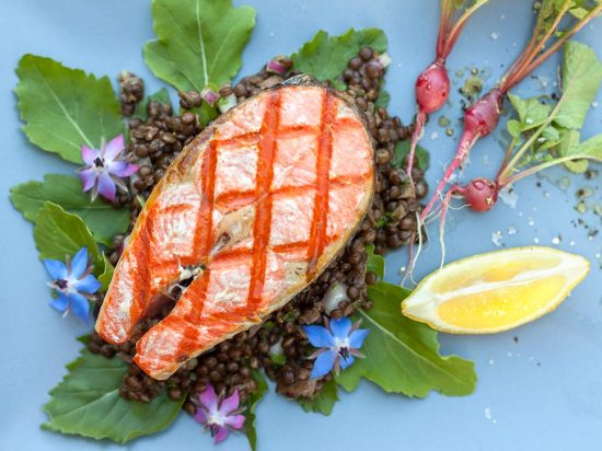 Grilled Salmon on Black Beluga Lentil Salad