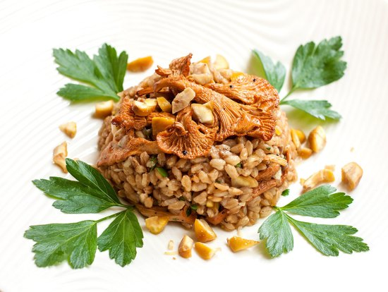 Farro, Wild Mushroom and Chestnut Salad with Sherry Vinaigrette