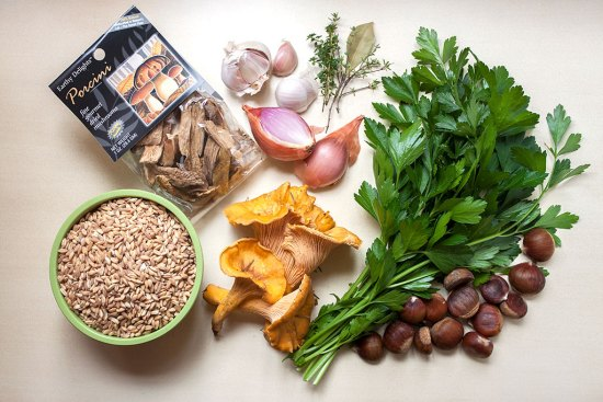 Farro and Wild Mushroom Salad Ingredients