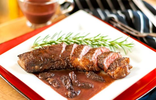 Pan-Fried Bison Steak with Morel-Ramp Bordelaise Sauce