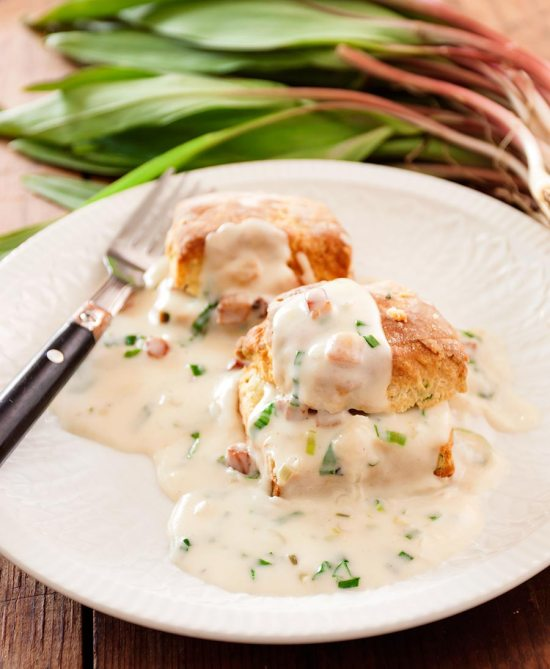 Ramp Biscuits with Ramp and Jowl Bacon Gravy