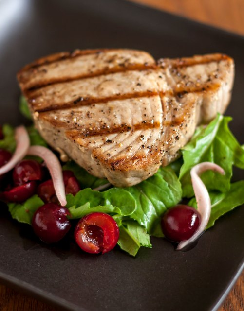 Grilled Tuna with Balaton Cherries, Sweet Onion and Arugula