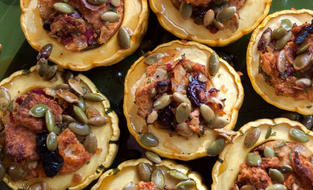 Roasted Delicata Squash with Dried Cherry-Pepita Stuffing closeup