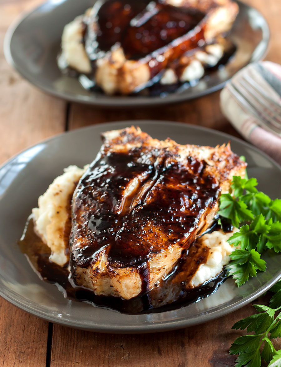 Close up picture of Porcini-Crusted Halibut with Balsamic Butter Glaze