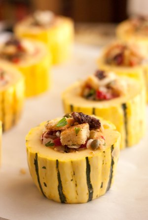 Filled Delicata squash rounds