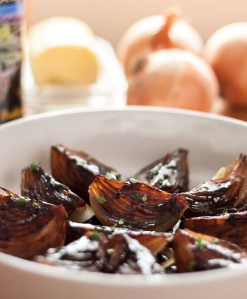 Roasted Onions with Balsamic Cream backlit