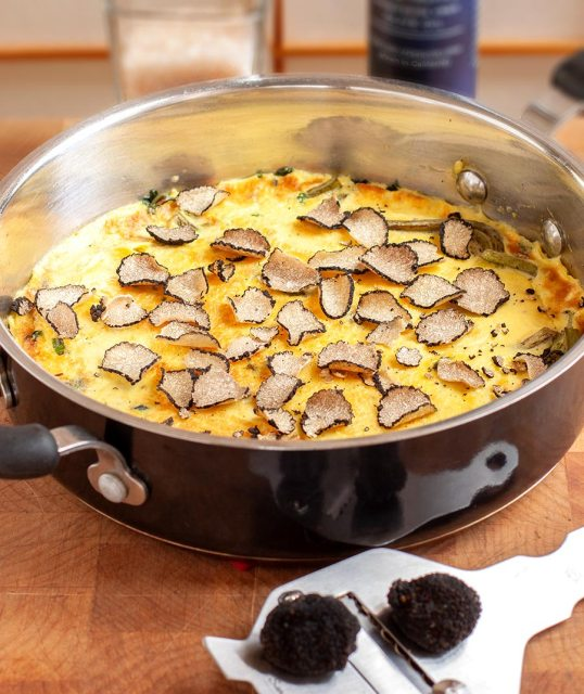 Fiddlehead and Ramp Frittata with Summer Truffles