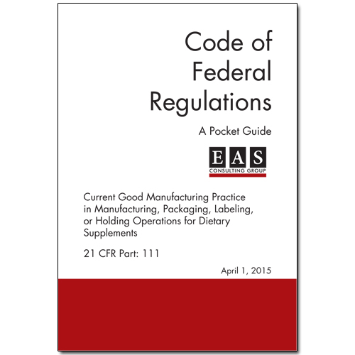 EAS Pocket Guide 21 CFR 111 Cover