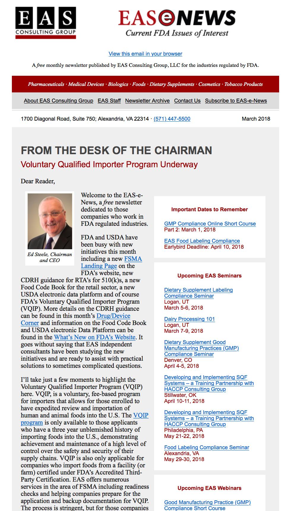 EAS-e-News March 2018