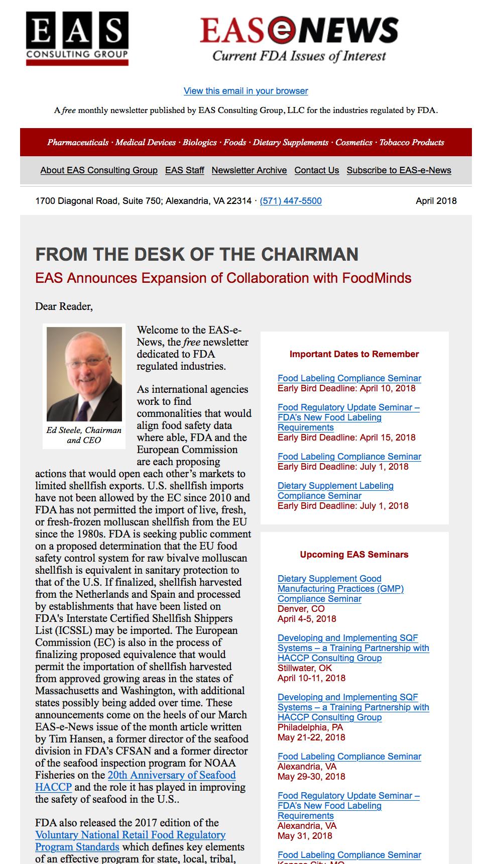 EAS-e-News April 2018