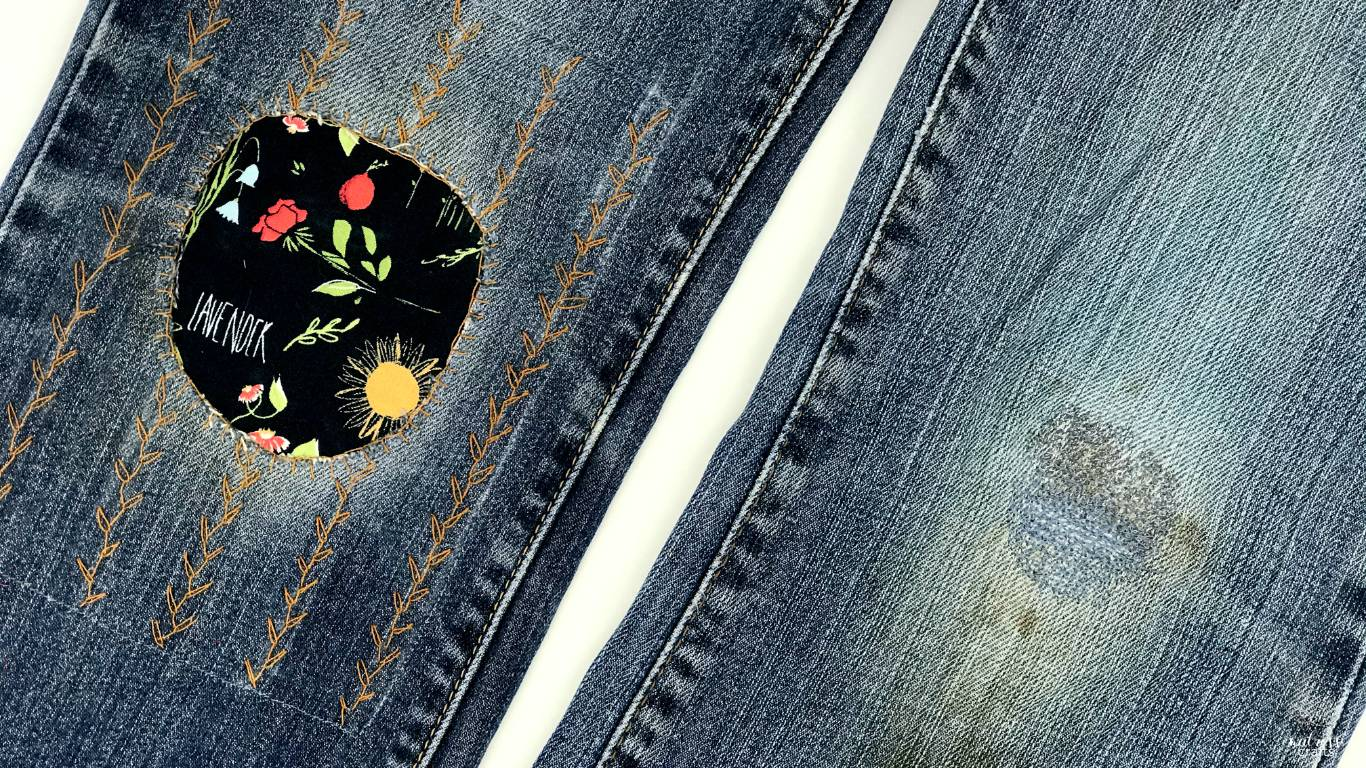visible mending - mend your jeans with lovely rose stitches #diy #mending #handmade #visiblemending