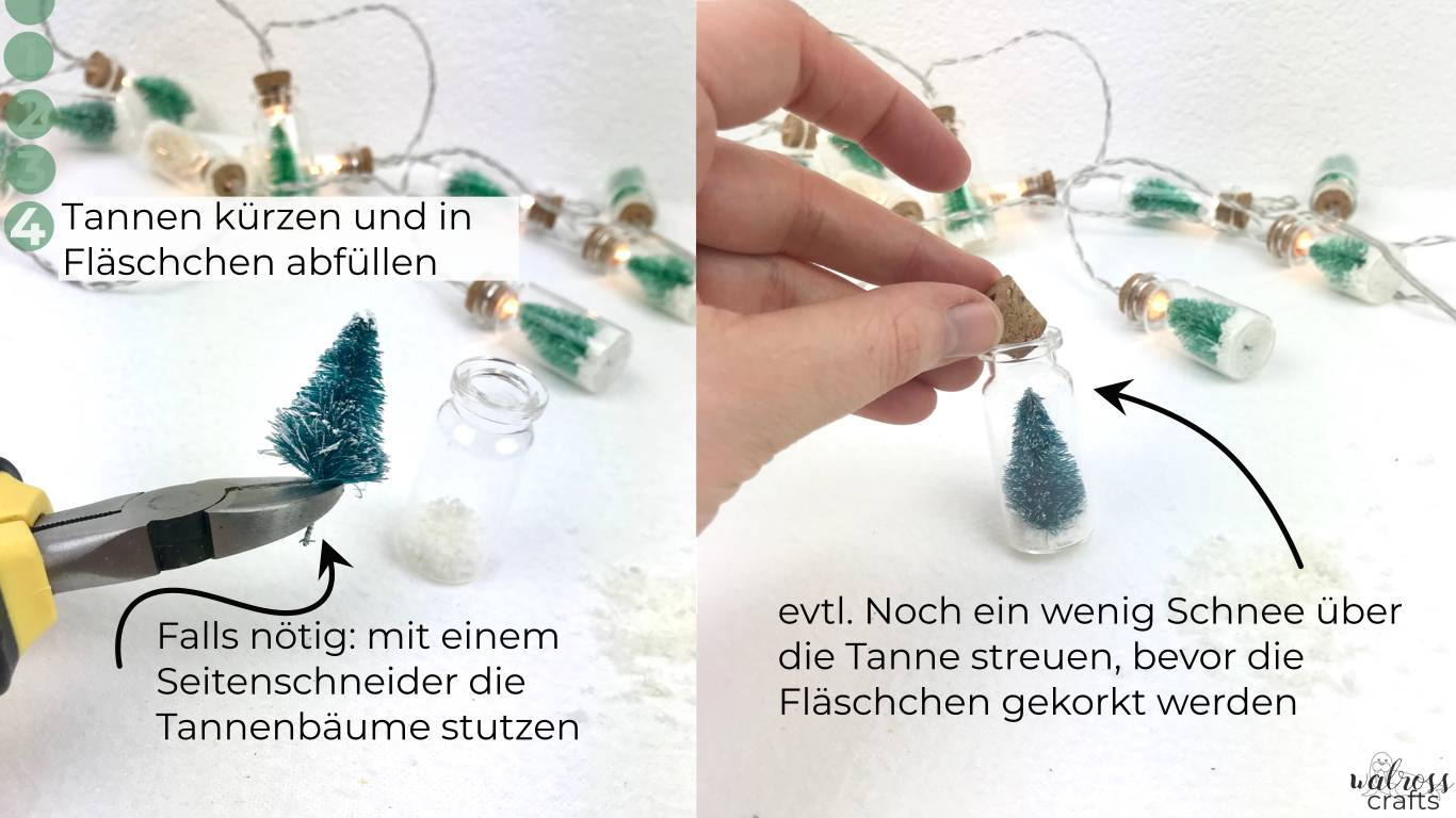 check out our tutorial for making these cute christmas tree bottled light strings #diy #wintervibes #bottledlight