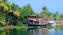 A houseboat docked in off-season