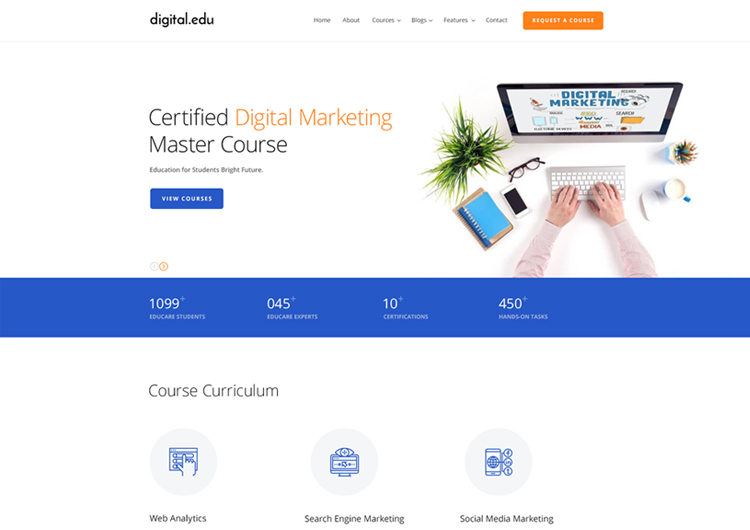 By detheme in web templates. Digital Marketing Courses Website Template Ease Template