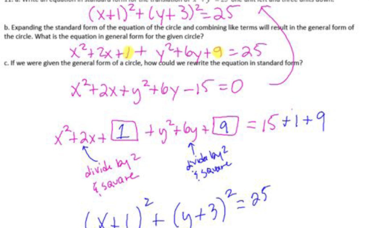 Completing The Square To Find The Center And Radius Of A