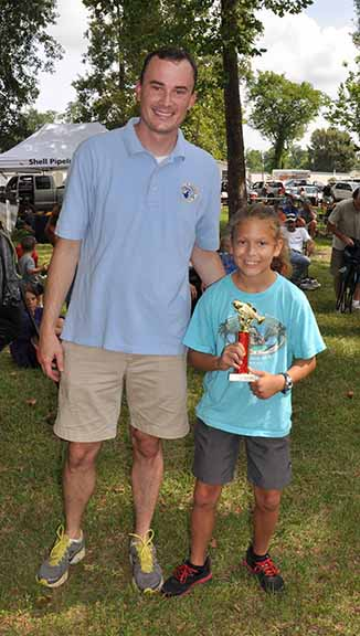Biggest Fish ages 8-10 Natalie Heflan pictured with Councilman Chris Loar.  Photo by Teri Henry