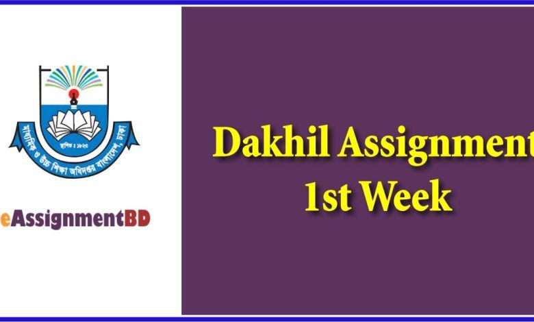 Dakhil Assignment 1st Week Answer