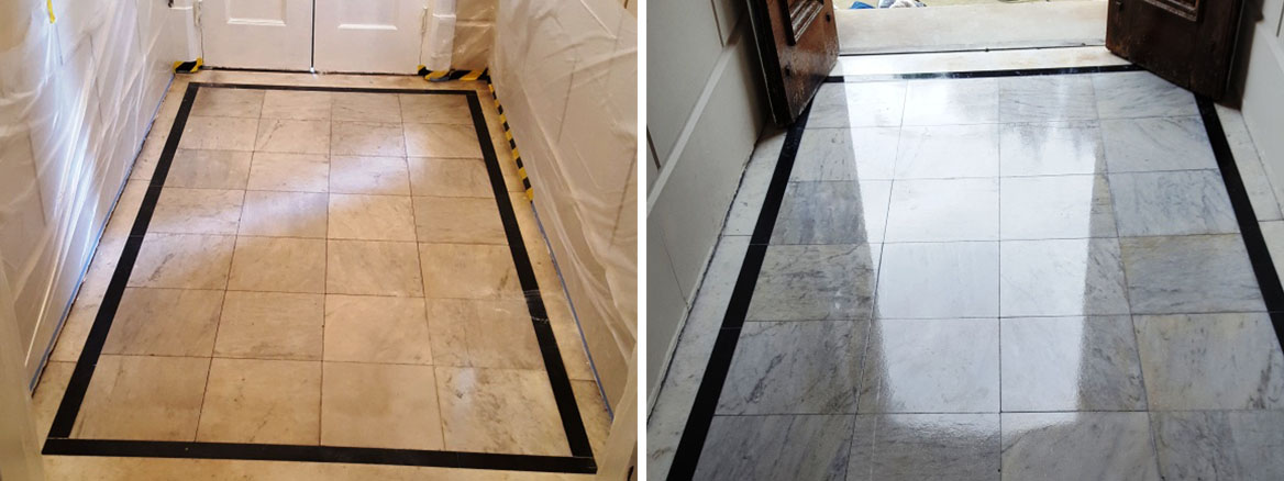 Marble Tiled Enterance Congleton Before After Cleaning
