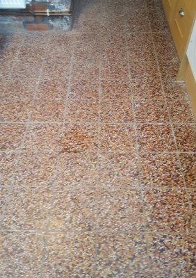 Terrazzo Kitchen Tiles Before Cleaning in Bosley Cheshire