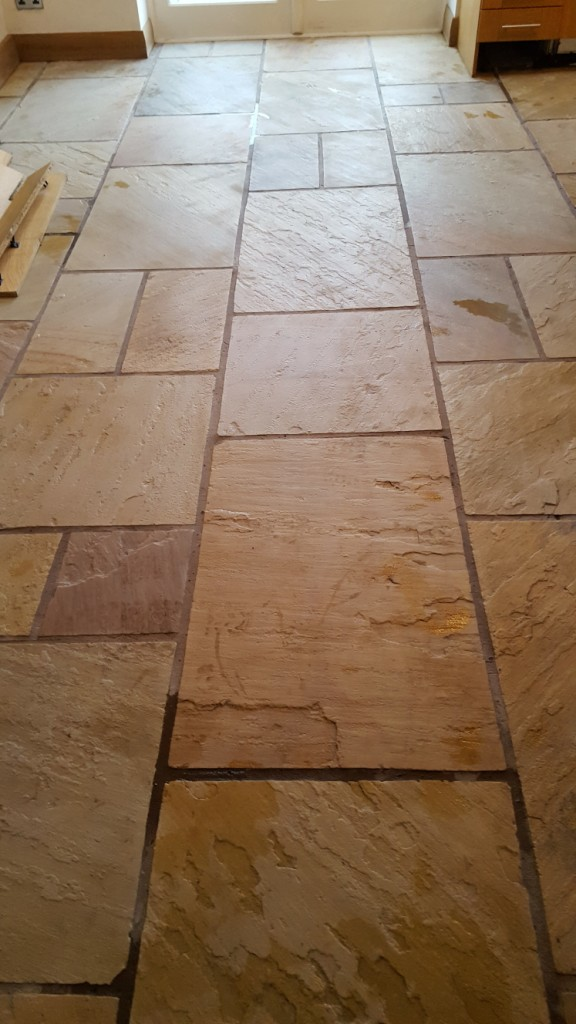 Sandstone Kitchen Floor After Cleaning Bramhall