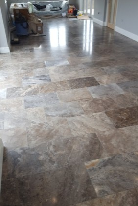 Polished Travertine Floor During Cleaning Eaton