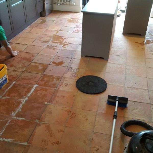 Spanish Terracotta Floor Tiles During Cleaning Alderley Edge