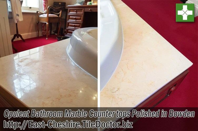 Marble Bathroom Counter tops Before and After Polishing Bowden