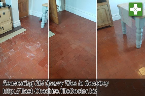 Old Quarry Tiled Kitchen Floor Before After Cleaning Goostrey