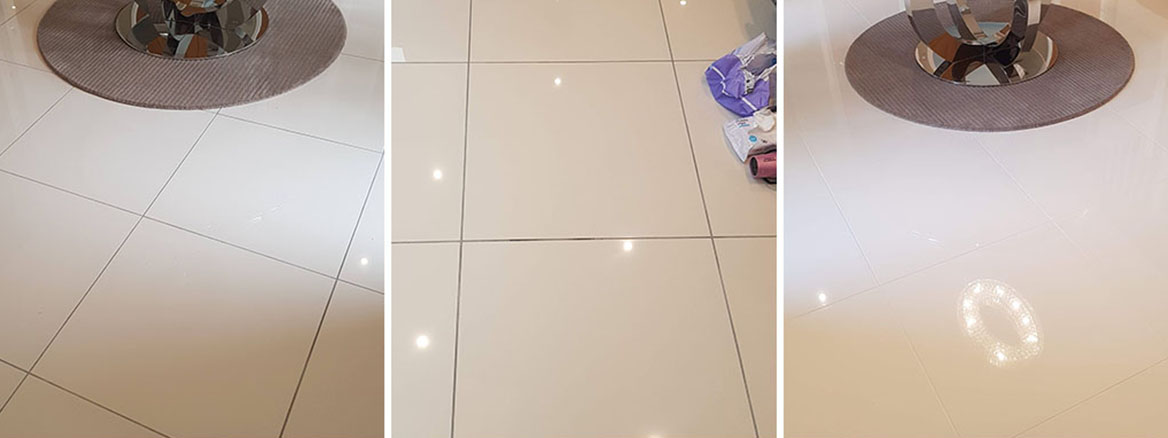 Porcelain Tiled Floor Before After Grout Colouring Nether Alderley