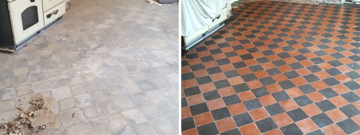 Red and Black Quarry Tiled Kitchen Floor Covered in Screed Before After Cleaning in mobberly