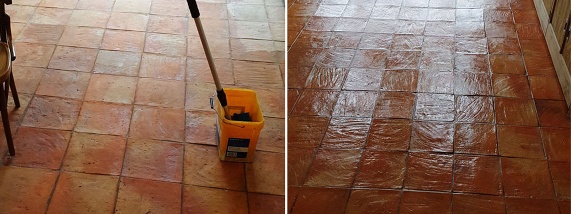 Terracotta Tiled Kitchen Floor Before and After Cleaning in Alderley Edge
