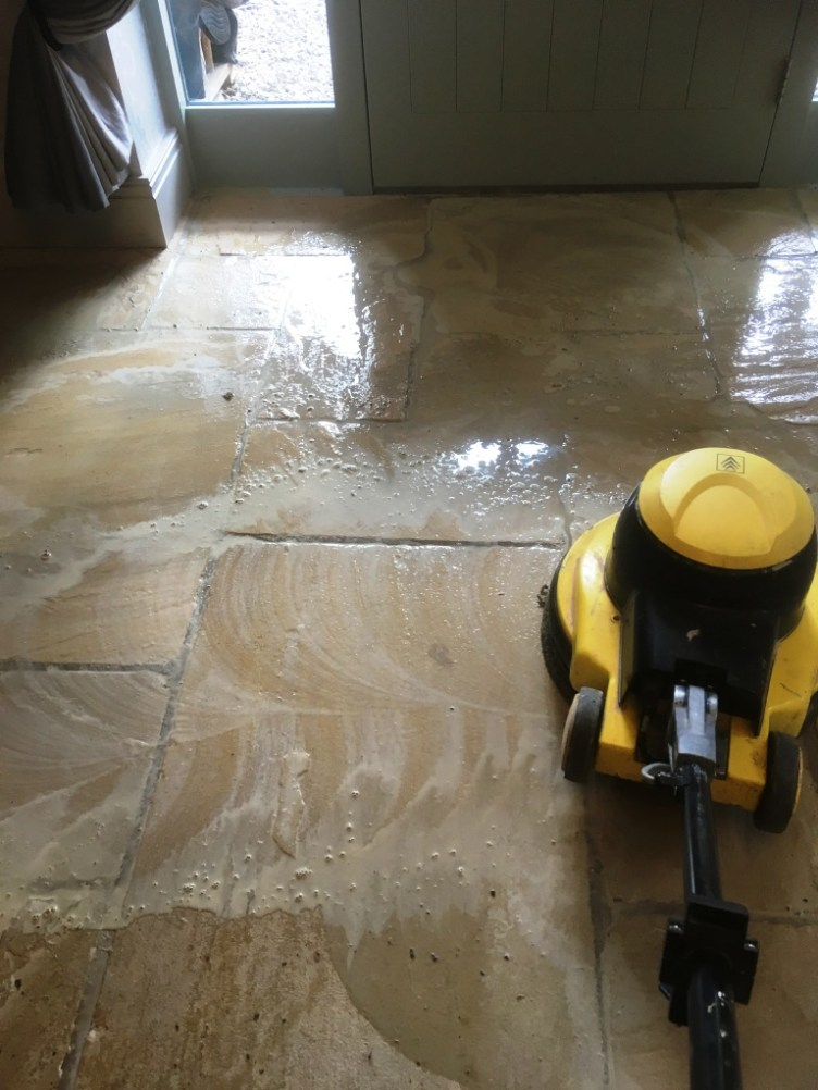 Large Sandstone Floor During Cleaning Disley