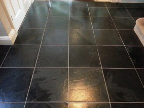Black Slate Tile After Cleaning