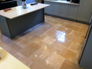 deep clean and seal of a dirty limestone tiled kitchen floor in icklesham east sussex tile doctor. Black Bedroom Furniture Sets. Home Design Ideas