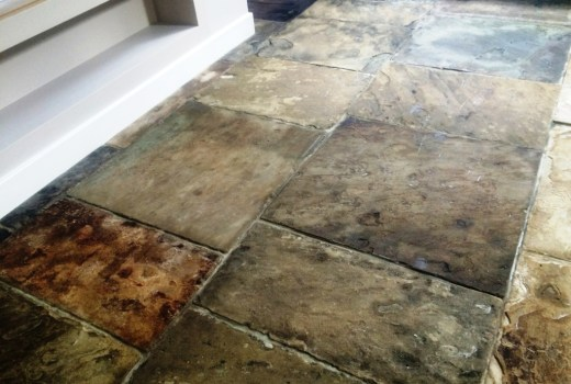 Yorkstone Kitchen Floor After Sealing Brighton