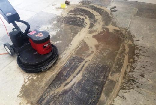 Yorkstone Kitchen Floor During Cleaning Brighton