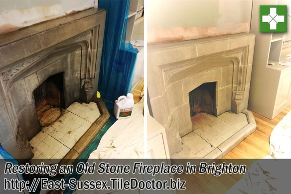 Stone Fireplace Before and After Restoration in Brighton