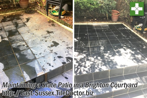 Slate Tiled Patio Before and After Maintenance in Brighton