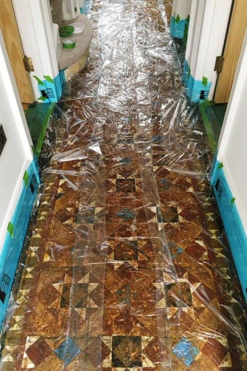 Victorian Tiled Hallway Floor During Restoration Hove