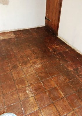 Dirty Quarry Tiled Kitchen Floor Before Cleaning Rotherfield