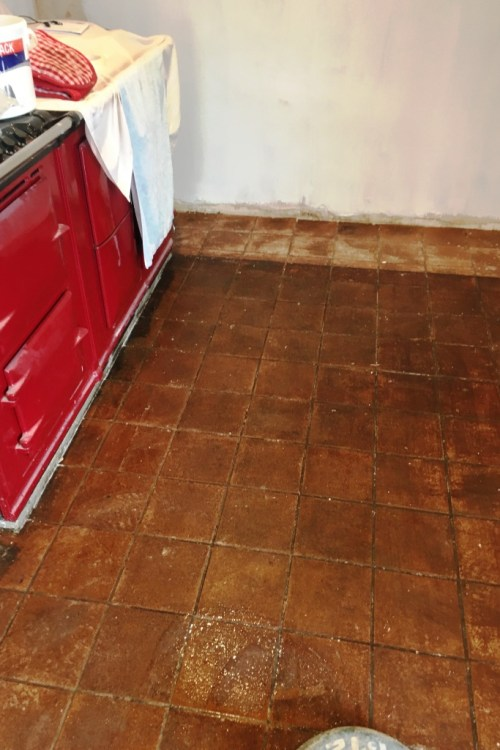 Very Dirty Quarry Tiled Kitchen Floor Restored In Rotherfield East - Cleaning very dirty tile floors