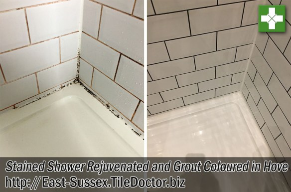 Stained Shower Grout Before and After Renovation Hove