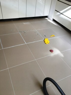 Porcelain Kitchen Tiles During Grout Colouring in Lewes Kitchen