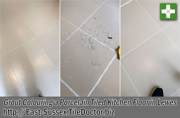 Porcelain Tiled Floor Before After Grout Colouring Lewes