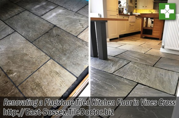 Flagstone Tiled Kitchen Floor Before and After Renovation Vines Cross Sussex
