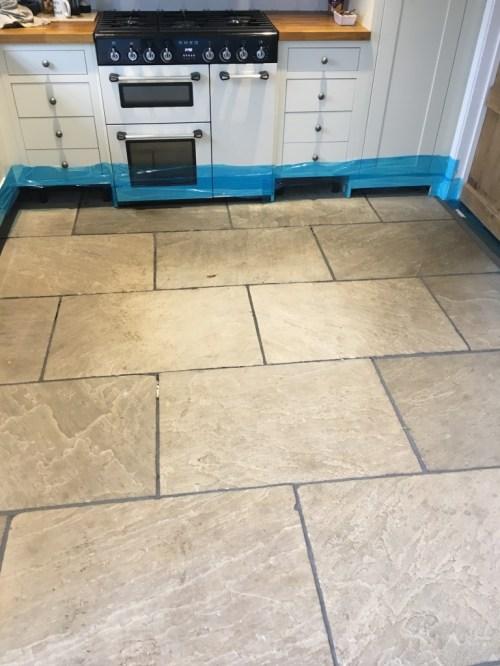 Flagstone floor before restoration Vines Cross