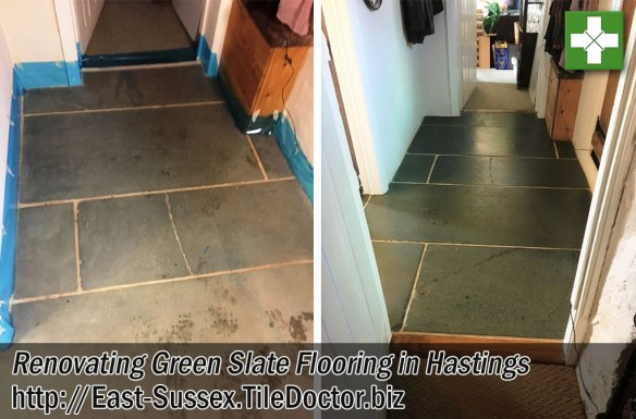 Green Slate Tiled Flooring Renovated in Hastings