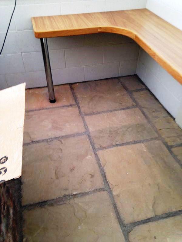 Flagstone Floor in Driffield Farm Office Before Sealing